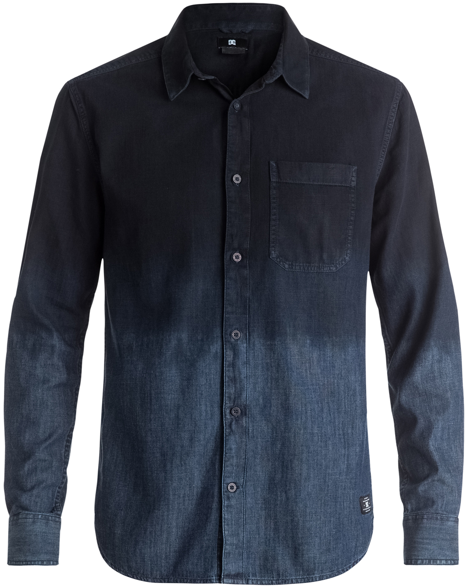 Рубашка мужская DC Shoes, цвет: синий, черный. EDYWT03140-PRR0. Размер L (52)EDYWT03140-PRR0Рубашка мужская DC Shoes сшита из легкого денима, а ее расцветка имитирует технологию погружного окрашивания. Рубашка застегивается на пуговицы. Модель имеет классический и удобный стандартный крой, длинные рукава с манжетами на пуговицах и отложной воротник. На груди расположен открытый накладной карман.
