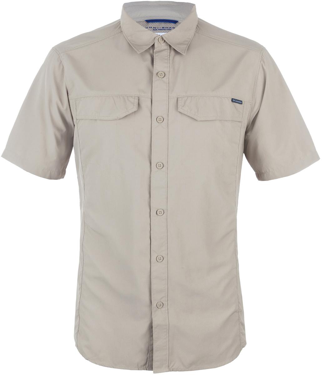 Рубашка мужская Columbia Silver Ridge SS Shirt, цвет: бежевый. 1441661-265. Размер M (46/48)1441661-265Мужская рубашка Columbia Silver Ridge SS Shirt изготовлена из нейлона. Модель Regular Fit с отложным воротником и короткими рукавами застегивается на пуговицы. Спереди расположен накладной карман. Технология Omni-Shade UPF 50 обеспечивает максимальную защиту от УФ-лучей в течение долгих часов на солнце. Технология Omni-Wick отводит испарения от тела, влага быстро впитывается в ткань и испаряется.