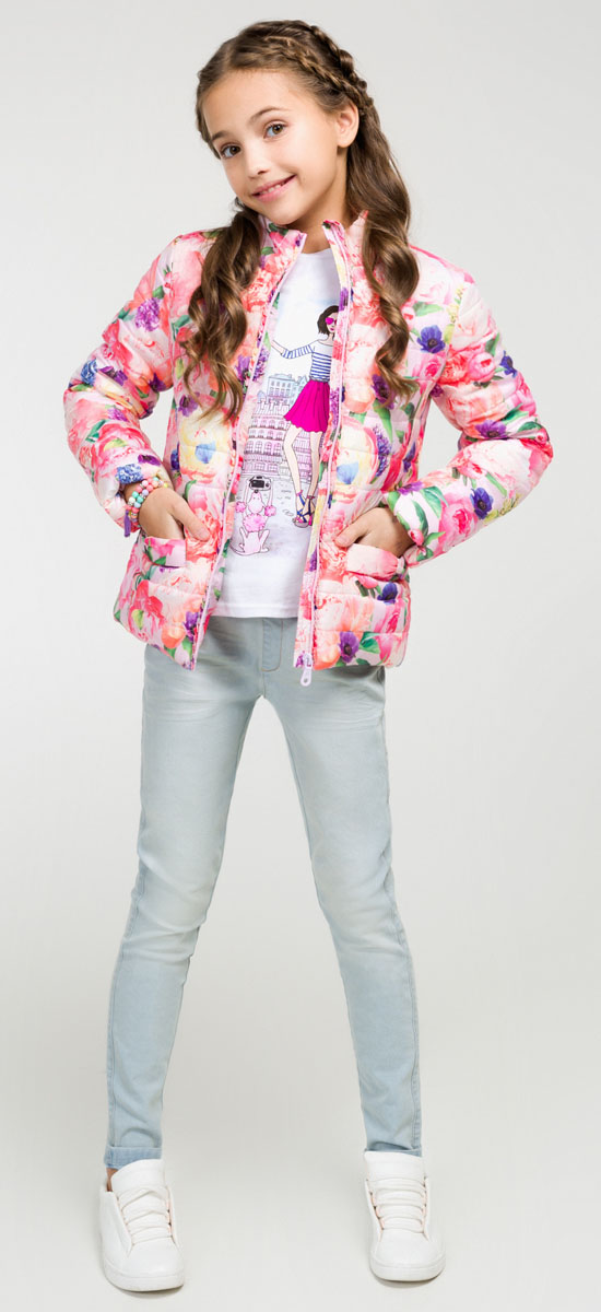 Куртка для девочки Acoola Capri, цвет: розовый. 20210130078_1400. Размер 16420210130078_1400Яркая стеганая куртка Acoola Capri приведет в восторг юную модницу! Изделие выполнено из полиэстера с водоотталкивающим покрытием и дополнено синтепоновым утеплителем. Модель прямого кроя с воротником-стойкой застегивается на застежку молнию. Куртка оформлена рюшами вдоль молнии и дополнена двумя накладными карманами, украшенными бантами. В такой стильной и теплой куртке ваша маленькая принцесса всегда будет в центре внимания!