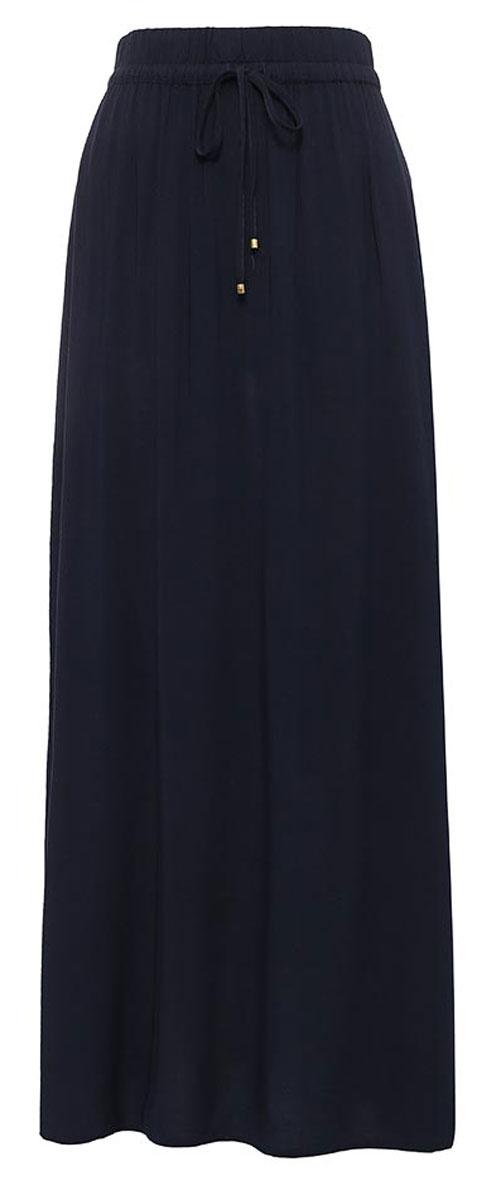Юбка Sela, цвет: темно-синий. SK-118/872-7233. Размер 46SK-118/872-7233Стильная женская юбка Sela выполнена излегкого воздушного материала. Юбка прямого кроя макси-длины имеет пояс на мягкой резинке, дополнительно регулируемый шнурком, и оформлена разрезами по бокам. Мягкая ткань на основе вискозы комфортна и приятна на ощупь. Юбка подойдет для офиса, прогулок и дружеских встреч и станет отличным дополнением гардероба в летний период.