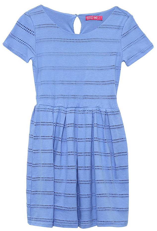 Платье для девочки Sela, цвет: индиго. Dks-617/433-7233. Размер 140Dks-617/433-7233Стильное платье для девочки Sela выполнено из качественного двухслойного трикотажа с перфорированным верхним слоем. Модель приталенного кроя с расклешенной юбкой и короткими рукавами застегивается сзади на пуговицу. Мягкая ткань комфортна и приятна на ощупь.Платье подойдет для прогулок и дружеских встреч и станет отличным дополнением гардероба юной модницы.