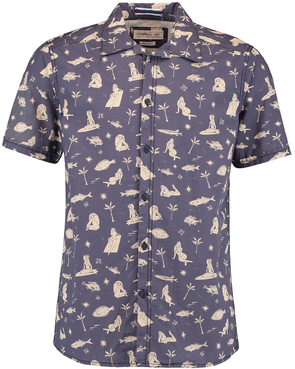 Рубашка мужская ONeill Lm Bay S/Slv Shirt, цвет: синий, бежевый. 7A1312-5900. Размер S (46/48)7A1312-5900Мужская рубашка ONeill выполнена из 100% хлопка. Модель застегивается на пуговицы, имеет короткие рукава и отложной воротник. Рубашка дополнена оригинальным сплошным принтом.