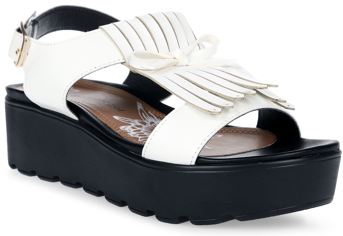 Сандалии женские Francesco Donni, цвет: белый. P564 593ZK-A67-09G84. Размер 37P564 593ZK-A67-09G84Стильные женские сандалии на удобной платформе выполнены из искусственной кожи. На ноге модель фиксируется при помощи ремешка с пряжкой. Подошва дополнена рифлением.