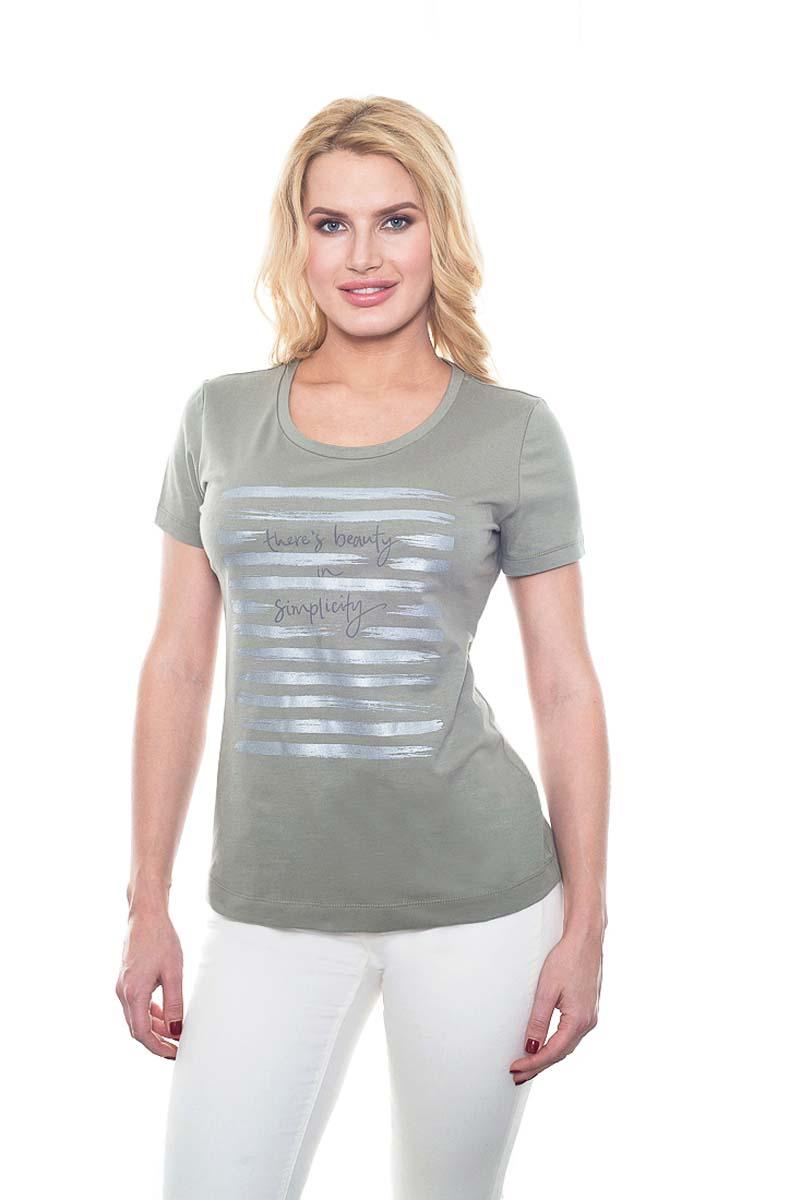Футболка женская BeGood, цвет: оливковый. SS17-BGUZ-894. Размер 46SS17-BGUZ-894Женская футболка BeGood изготовлена из качественной смесовой ткани. У модели укороченные рукава и круглая горловина. Футболка дополнена принтом.