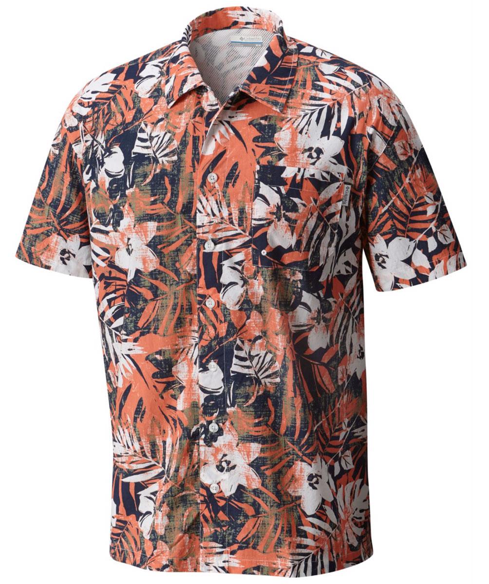 Рубашка мужская Columbia Trollers Best SS Shirt, цвет: оранжевый, черный, белый. 1438981-801. Размер S (44/46)1438981-801Мужская рубашка Columbia Trollers Best SS Shirt изготовлена из натурального хлопка. Модель с отложным воротником и короткими рукавами застегивается на пуговицы. Спереди расположен накладной карман.