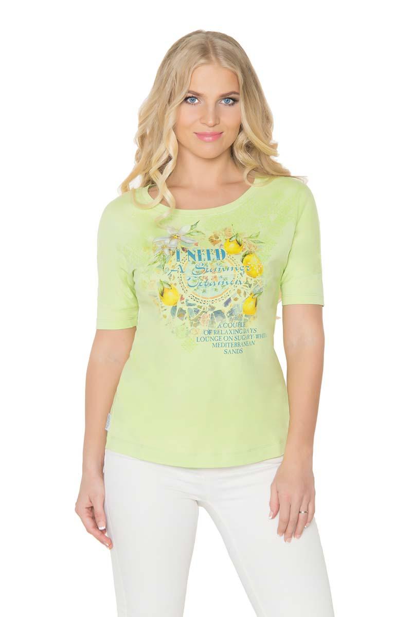Футболка женская BeGood, цвет: светло-зеленый. SS17-BGUZ-977. Размер 52SS17-BGUZ-977Женская футболка BeGood изготовлена из качественной смесовой ткани. У модели круглая горловина и оригинальный принт на груди.
