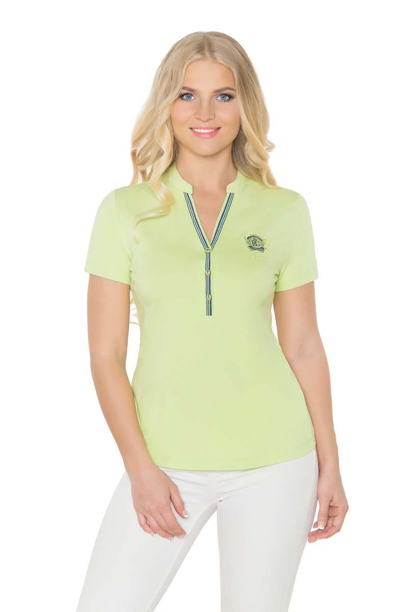 Футболка женская BeGood, цвет: светло-зеленый. SS17-BGUZ-982. Размер 46SS17-BGUZ-982Женская футболка BeGood изготовлена из качественной смесовой ткани. У модели укороченные рукава и короткий воротник-стойка.
