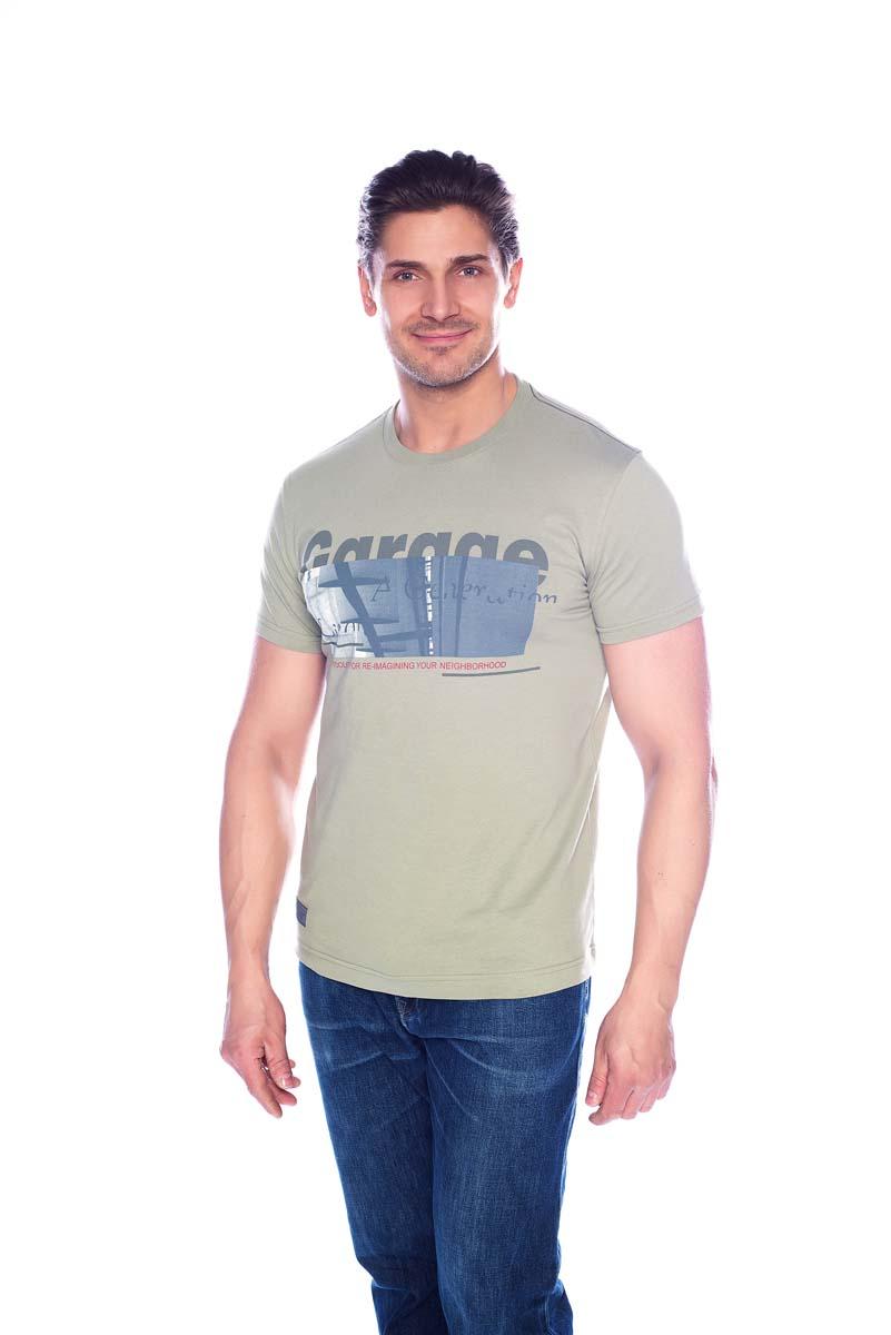 Футболка мужская BeGood, цвет: оливковый. SS17-BGUZ-005. Размер 56SS17-BGUZ-005Футболка BeGood изготовлена из качественного хлопка. У модели круглая горловина и оригинальный принт.