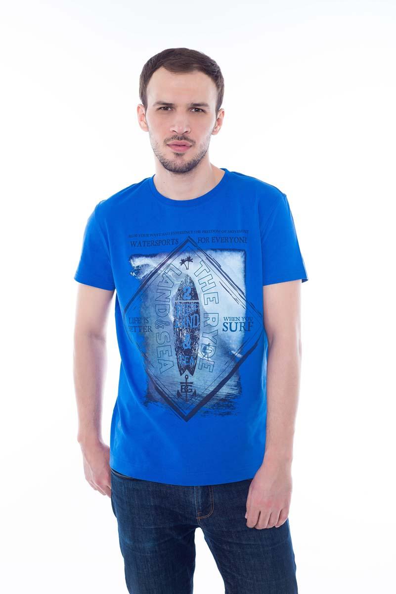 Футболка мужская BeGood, цвет: синий. SS17-BGUZ-009A. Размер 54SS17-BGUZ-009AФутболка BeGood изготовлена из качественного хлопка. У модели круглая горловина и оригинальный принт.