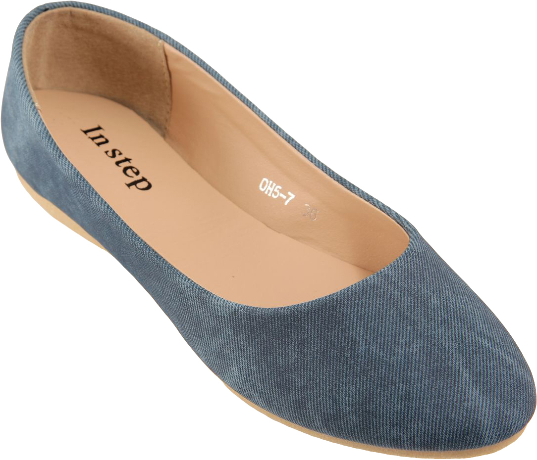Балетки женские In Step, цвет: синий. OH5-7. Размер 38OH5-7Стильные женские балетки от In Step выполнены из искусственной кожи. Подошва из резины устойчива к изломам. Аккуратно смотрятся на ноге, комфортно носятся.