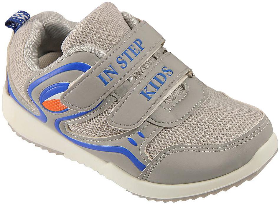 Кроссовки детские In Step, цвет: серый. HF035-1. Размер 29HF035-1Детские кроссовки от In Step выполнены из комбинации дышащего текстиля и искусственной кожи. Ремешки на липучке гарантируют надежную фиксацию обуви на ноге. Внутренняя поверхность и стелька из текстиля комфортны при движении. Рельефная подошва изготовлена из резины.
