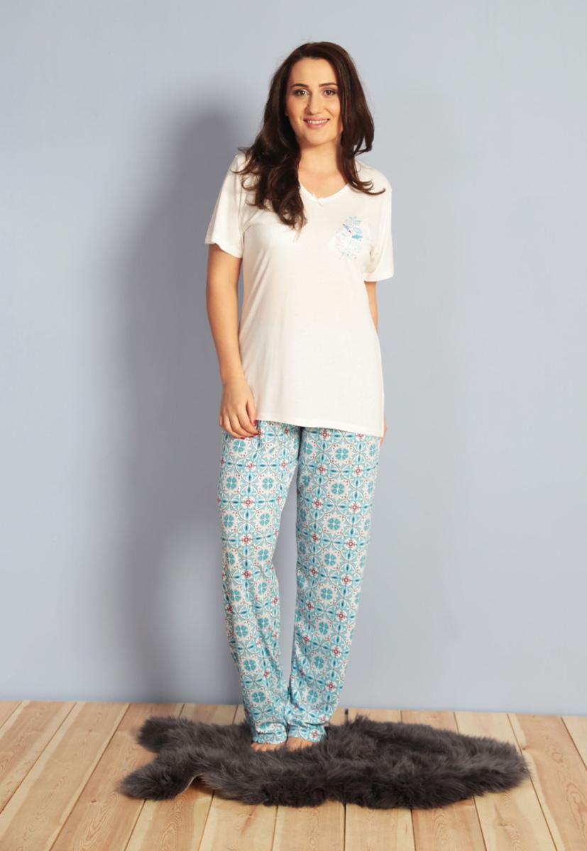 Домашний комплект женский Kezokino, цвет: белый. 610275 0335. Размер XL (50/52)610275 0335Красивый комплект, выполненный из 100% вискозы, состоит из футболки и брюк приятной расцветки. Отличный вариант для дома и отдыха на каждый день.