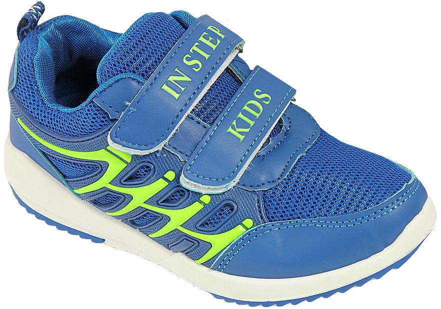 Кроссовки для мальчика In Step, цвет: голубой. HF032-2. Размер 32HF032-2Детские кроссовки от In Step выполнены из комбинации дышащего текстиля и искусственной кожи. Ремешки на липучке гарантируют надежную фиксацию обуви на ноге. Внутренняя поверхность и стелька из текстиля комфортны при движении. Рельефная подошва изготовлена из резины.
