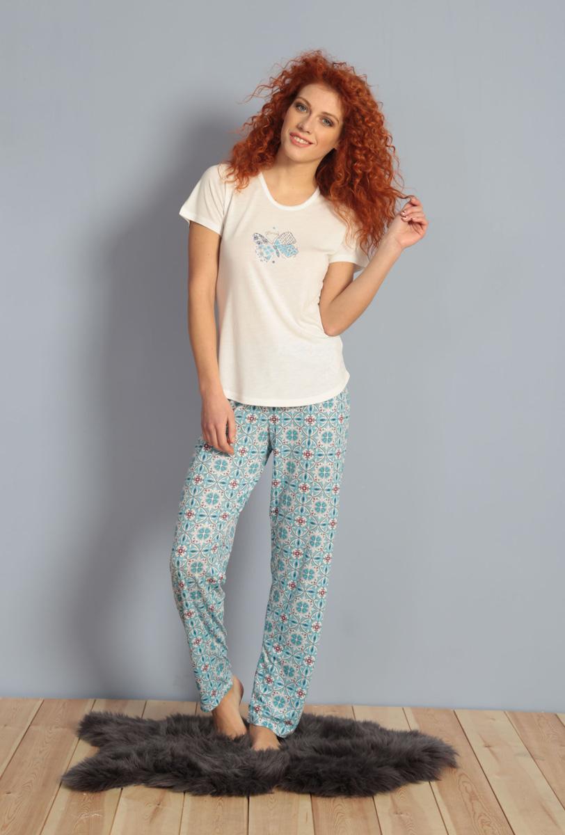 Домашний комплект женский Kezokino, цвет: ванильный. 609105 0335. Размер L (48)609105 0335Красивый комплект, выполненный из 100% вискозы, состоит из футболки и брюк приятной расцветки. Отличный вариант для дома и отдыха на каждый день.