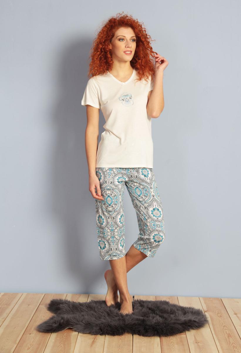 Домашний комплект женский Kezokino, цвет: ванильный. 610024 1174. Размер M (46)610024 1174Красивый комплект, выполненный из 100% вискозы, состоит из футболки и капри приятной расцветки. Отличный вариант для дома и отдыха на каждый день.
