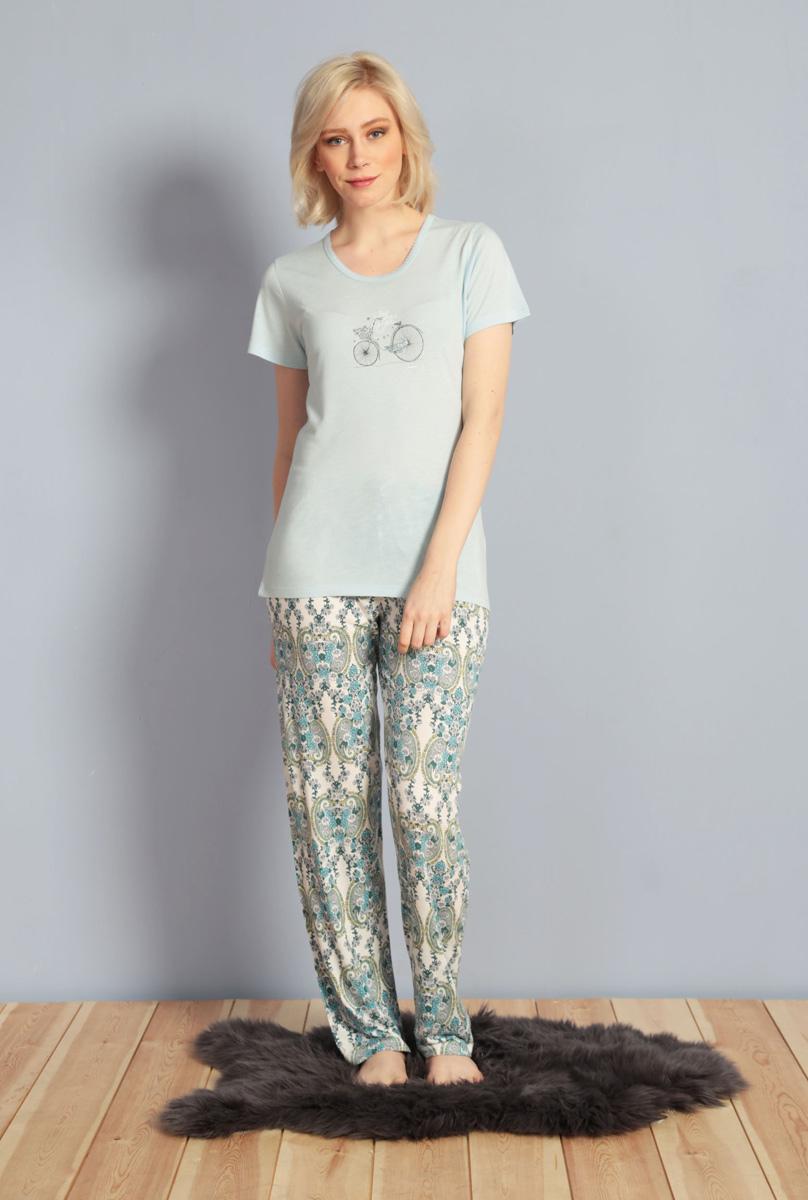 Домашний комплект женский Kezokino, цвет: голубой. 610029 1173. Размер S (44)610029 1173Красивый комплект, выполненный из 100% вискозы, состоит из футболки и брюк приятной расцветки. Отличный вариант для дома и отдыха на каждый день.