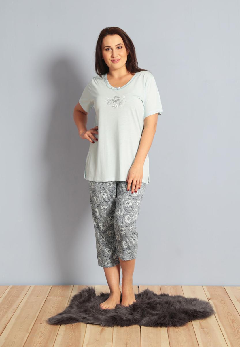 Домашний комплект женский Kezokino, цвет: голубой. 610282 1171. Размер XL (50/52)610282 1171Красивый комплект, выполненный из 100% вискозы, состоит из футболки и капри приятной расцветки. Отличный вариант для дома и отдыха на каждый день.