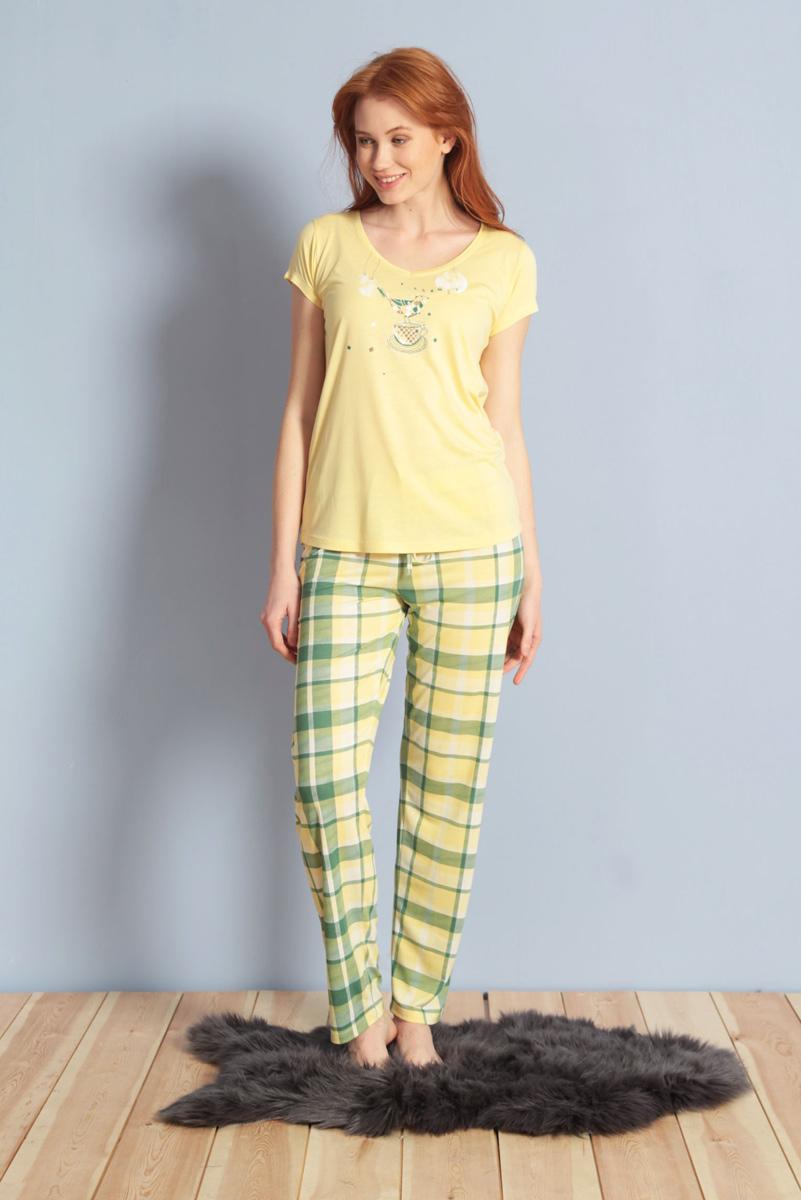 Домашний комплект женский Kezokino, цвет: желтый. 609108 1245. Размер XL (50)609108 1245Красивый комплект, выполненный из 100% вискозы, состоит из футболки и брюк приятной расцветки. Отличный вариант для дома и отдыха на каждый день.