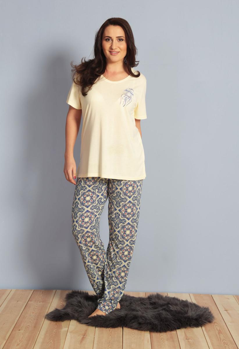 Домашний комплект женский Kezokino, цвет: желтый. 610272 0576. Размер XXL (52)610272 0576Красивый комплект, выполненный из 100% вискозы, состоит из футболки и брюк приятной расцветки. Отличный вариант для дома и отдыха на каждый день.
