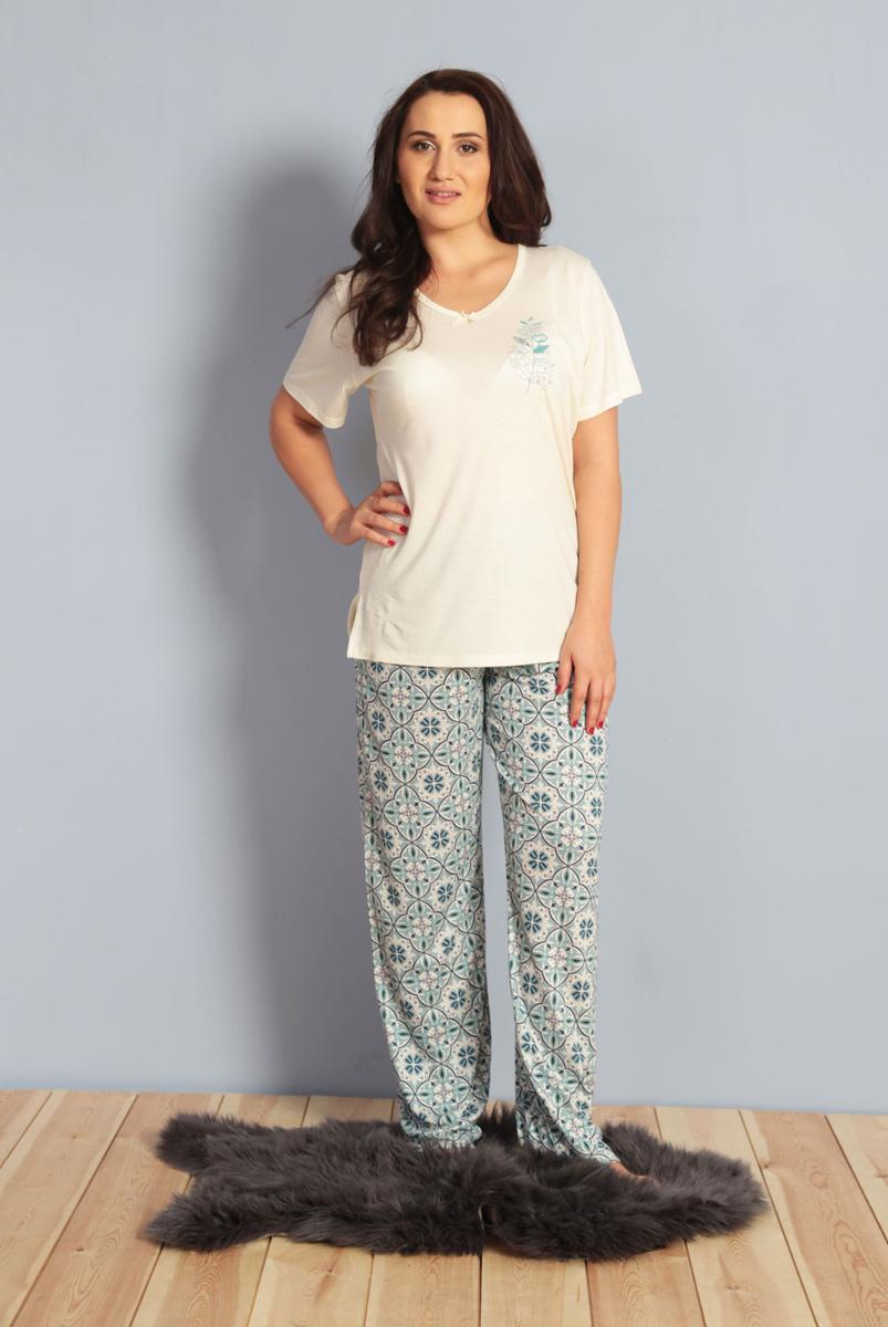 Домашний комплект женский Kezokino, цвет: экрю. 610275 0335. Размер XXL (52)610275 0335Красивый комплект, выполненный из 100% вискозы, состоит из футболки и брюк приятной расцветки. Отличный вариант для дома и отдыха на каждый день.