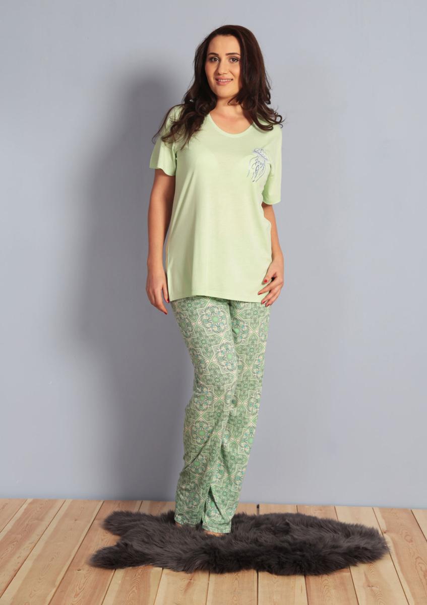 Домашний комплект женский Kezokino, цвет: серо-зеленый. 610272 0576. Размер XXL (52)610272 0576Красивый комплект, выполненный из 100% вискозы, состоит из футболки и брюк приятной расцветки. Отличный вариант для дома и отдыха на каждый день.
