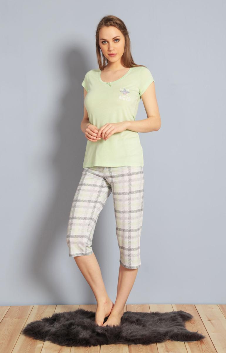 Домашний комплект женский Kezokino, цвет: светло-зеленый. 610168 1251. Размер XL (50)610168 1251Красивый комплект, выполненный из 100% вискозы, состоит из футболки и капри приятной расцветки. Отличный вариант для дома и отдыха на каждый день.