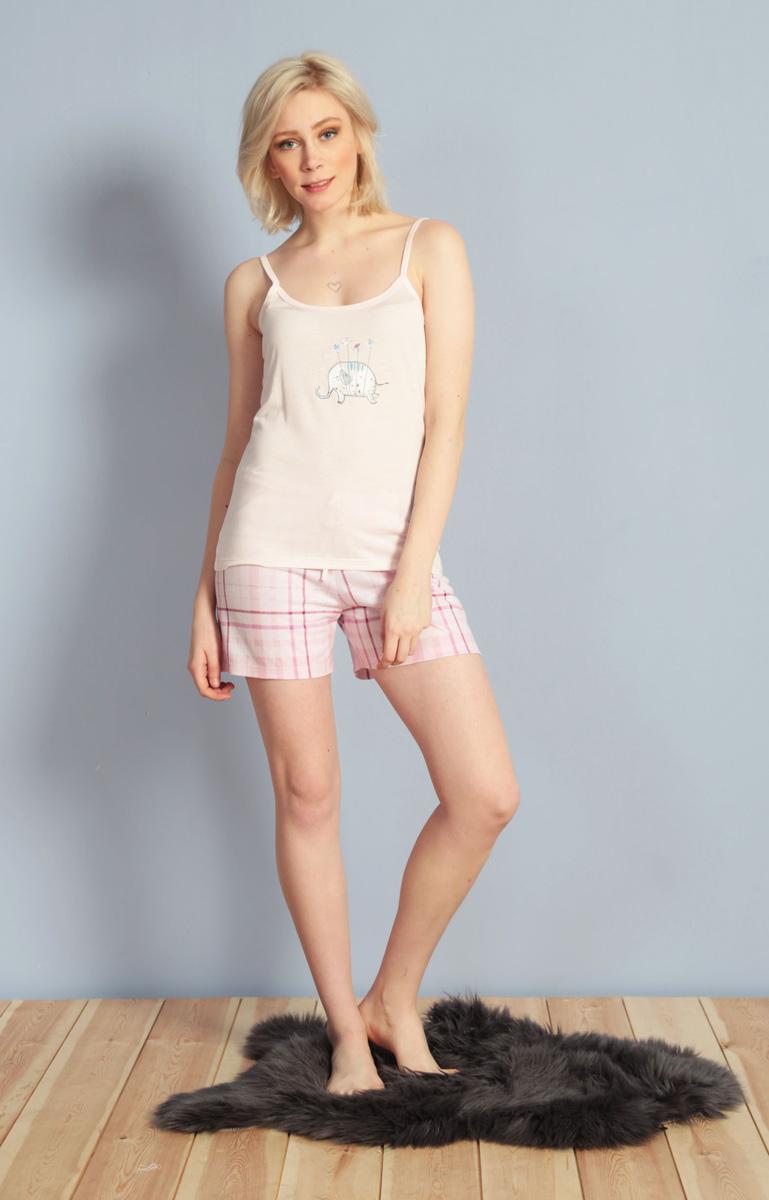 Домашний комплект женский Kezokino, цвет: светло-розовый. 610157 1248. Размер S (44)610157 1248Красивый комплект, выполненный из 100% вискозы, состоит из майки и коротких шорт приятной расцветки. Отличный вариант для дома и отдыха на каждый день.