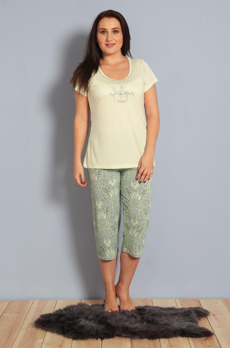 Домашний комплект женский Kezokino, цвет: светло-зеленый. 610279 0619. Размер XXL (52)610279 0619Красивый комплект, выполненный из 100% вискозы, состоит из футболки и капри приятной расцветки. Отличный вариант для дома и отдыха на каждый день.