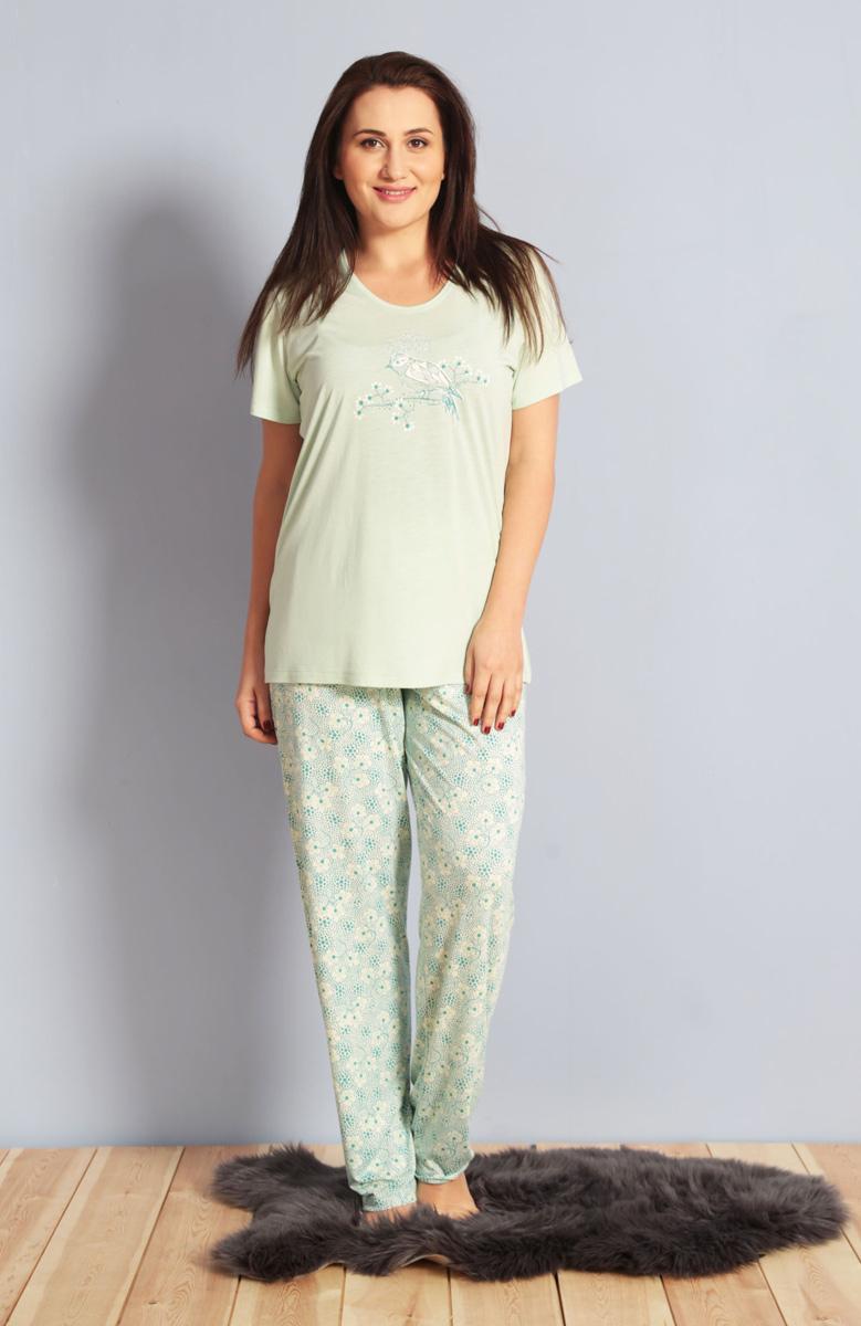 Домашний комплект женский Kezokino, цвет: светло-зеленый. 610274 1165. Размер XXL (52)610274 1165Красивый комплект, выполненный из 100% вискозы, состоит из футболки и брюк приятной расцветки. Отличный вариант для дома и отдыха на каждый день.