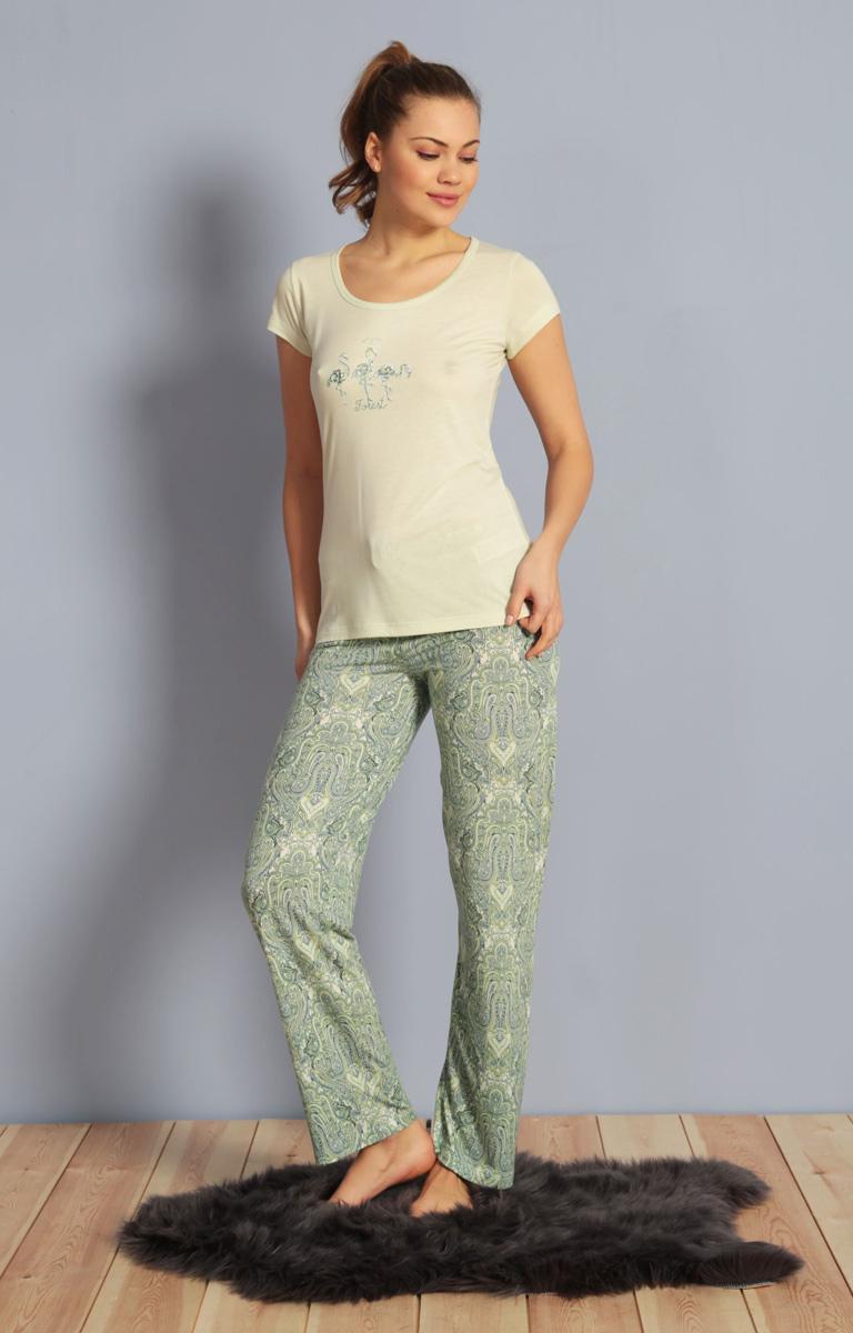 Домашний комплект женский Kezokino, цвет: светло-зеленый. 610161 0619. Размер XL (50)610161 0619Красивый комплект, выполненный из 100% вискозы, состоит из футболки и брюк приятной расцветки. Отличный вариант для дома и отдыха на каждый день.