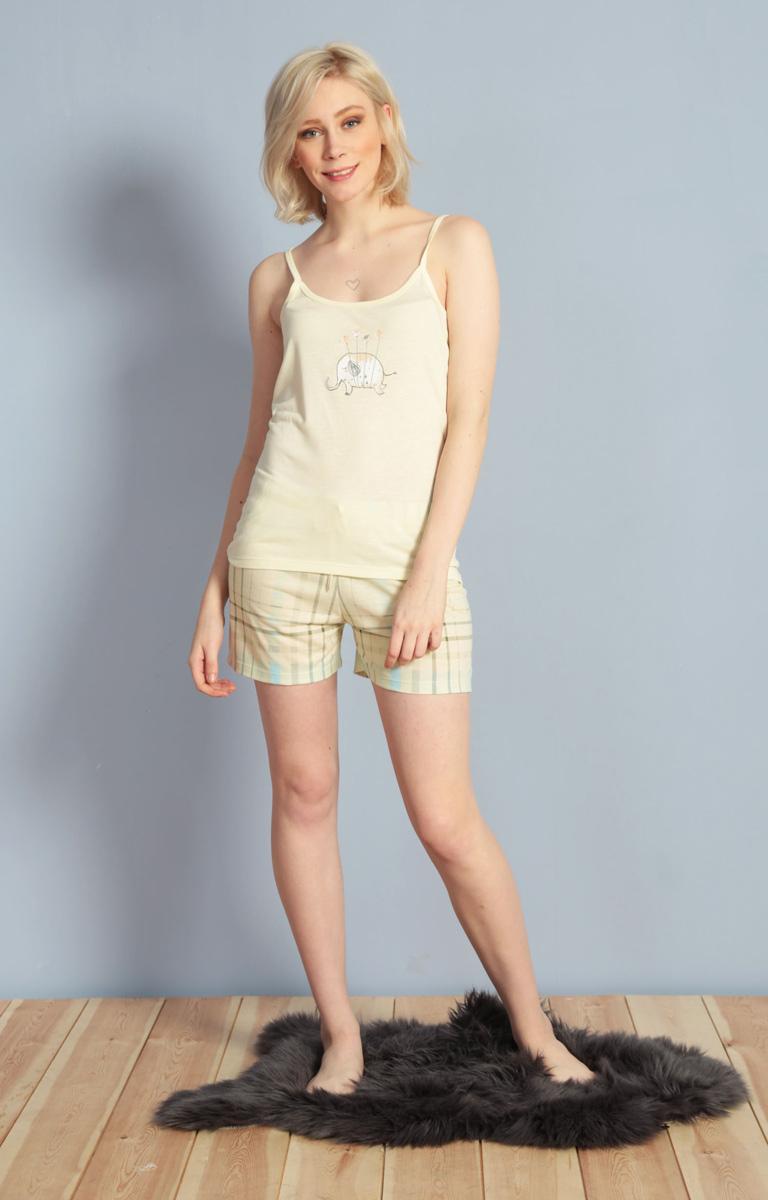 Домашний комплект женский Kezokino, цвет: светло-желтый. 610157 1248. Размер S (44)610157 1248Красивый комплект, выполненный из 100% вискозы, состоит из майки и коротких шорт приятной расцветки. Отличный вариант для дома и отдыха на каждый день.