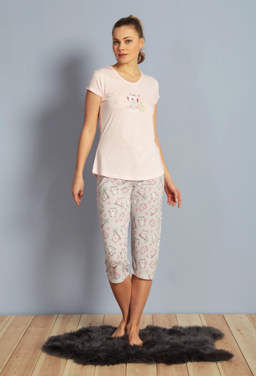 Домашний комплект женский Kezokino, цвет: розовый. 610171 1283. Размер XL (50)610171 1283Красивый комплект, выполненный из 100% вискозы, состоит из футболки и капри приятной расцветки. Отличный вариант для дома и отдыха на каждый день.