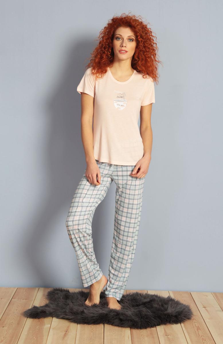 Домашний комплект женский Kezokino, цвет: розовый. 610152 1250. Размер XL (50)610152 1250Красивый комплект, выполненный из 100% вискозы, состоит из футболки и брюк приятной расцветки. Отличный вариант для дома и отдыха на каждый день.