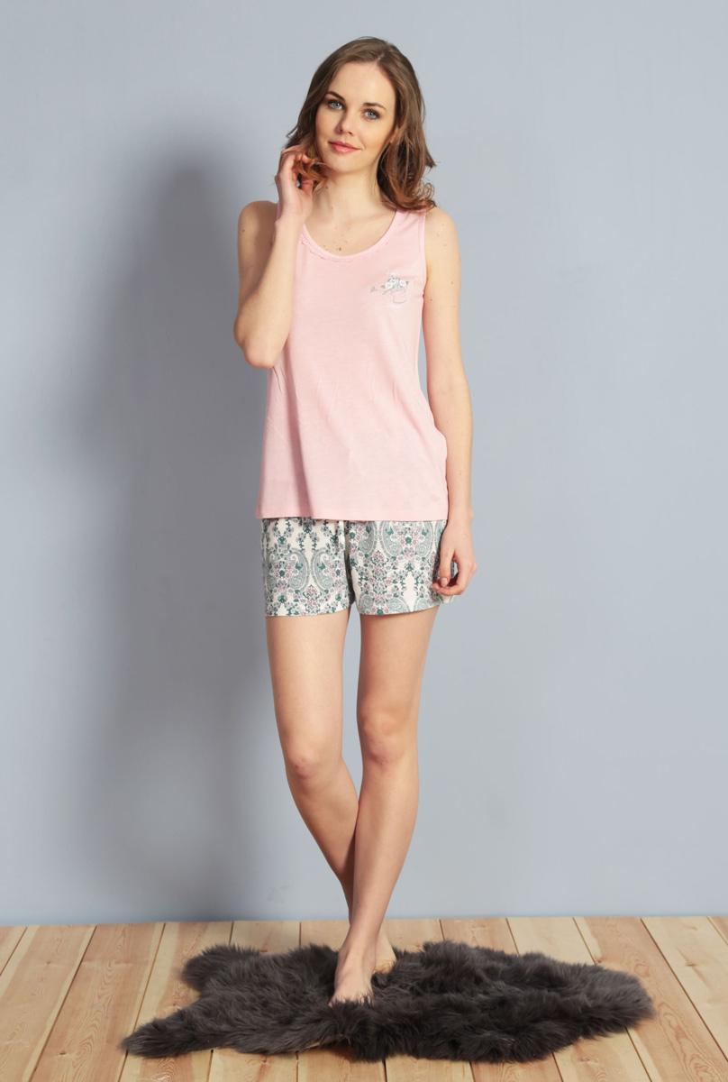 Домашний комплект женский Kezokino, цвет: розовый. 610028 1173. Размер XL (50)610028 1173Красивый комплект, выполненный из 100% вискозы, состоит из майки и шорт приятной расцветки. Отличный вариант для дома и отдыха на каждый день.