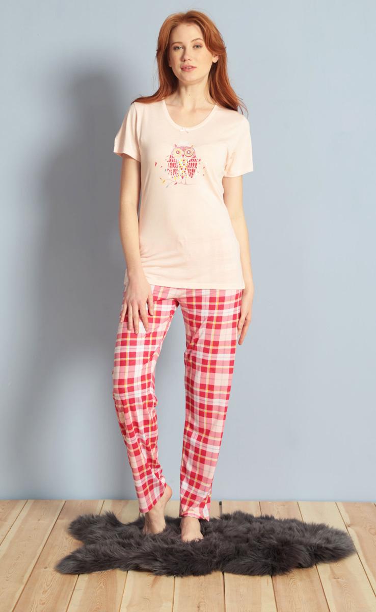 Домашний комплект женский Kezokino, цвет: розовый. 609102 1246. Размер XL (50)609102 1246Красивый комплект, выполненный из 100% вискозы, состоит из футболки и брюк приятной расцветки. Отличный вариант для дома и отдыха на каждый день.