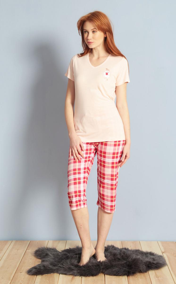 Домашний комплект женский Kezokino, цвет: розовый. 609100 1246. Размер XL (50)609100 1246Красивый комплект, выполненный из 100% вискозы, состоит из футболки и капри приятной расцветки. Отличный вариант для дома и отдыха на каждый день.