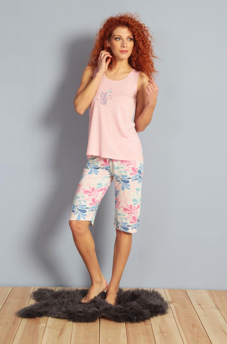 Домашний комплект женский Kezokino, цвет: розовый. 609085 1167. Размер XL (50)609085 1167Красивый комплект, выполненный из 100% вискозы, состоит из майки и шорт средней длины приятной расцветки. Отличный вариант для дома и отдыха на каждый день.