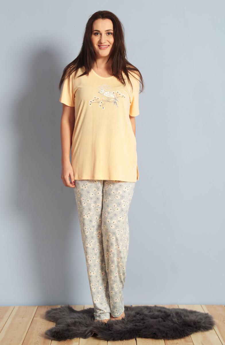 Домашний комплект женский Kezokino, цвет: персиковый. 610274 1165. Размер XXXL (54)610274 1165Красивый комплект, выполненный из 100% вискозы, состоит из футболки и брюк приятной расцветки. Отличный вариант для дома и отдыха на каждый день.