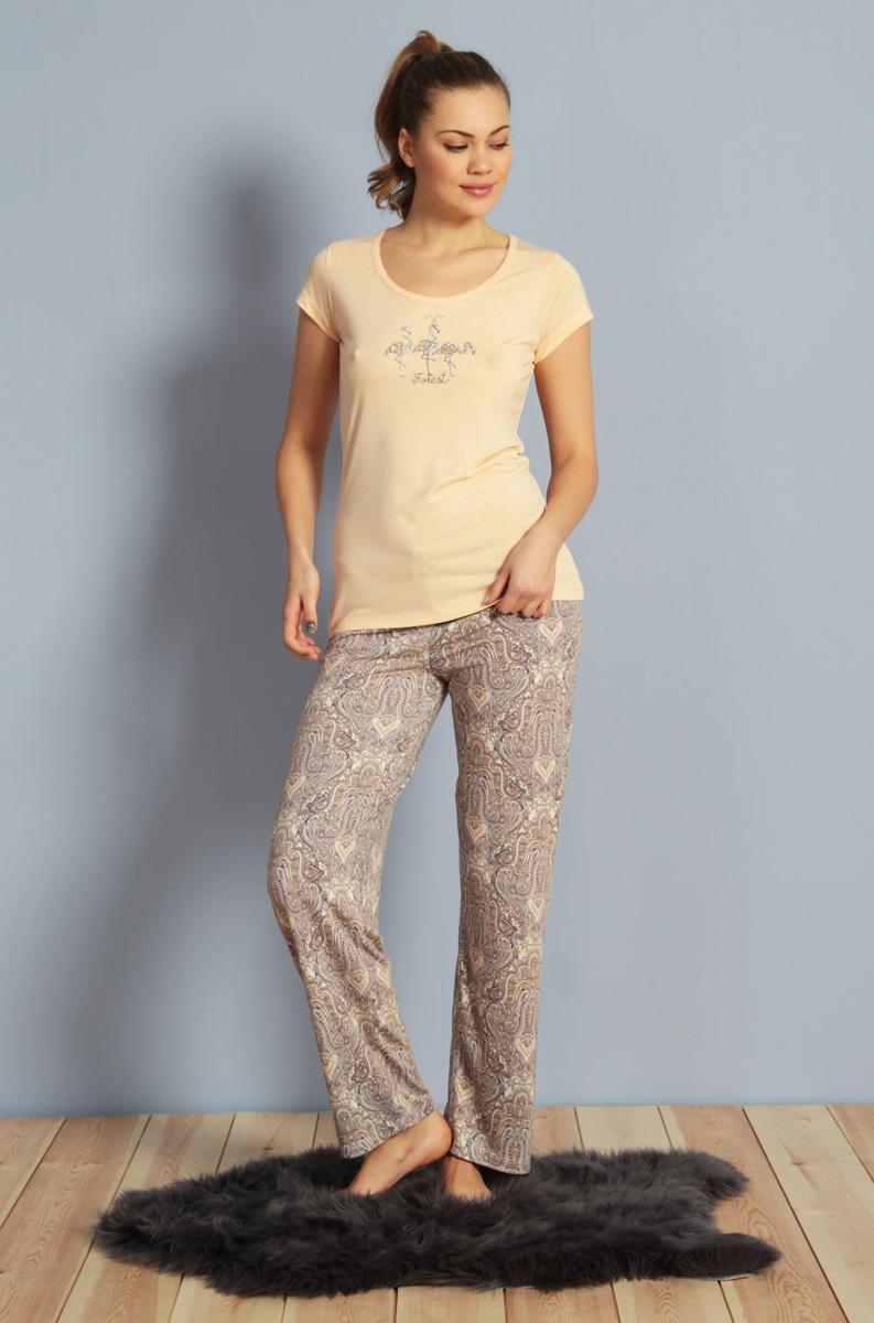 Домашний комплект женский Kezokino, цвет: персиковый. 610161 0619. Размер L (48)610161 0619Красивый комплект, выполненный из 100% вискозы, состоит из футболки и брюк приятной расцветки. Отличный вариант для дома и отдыха на каждый день.