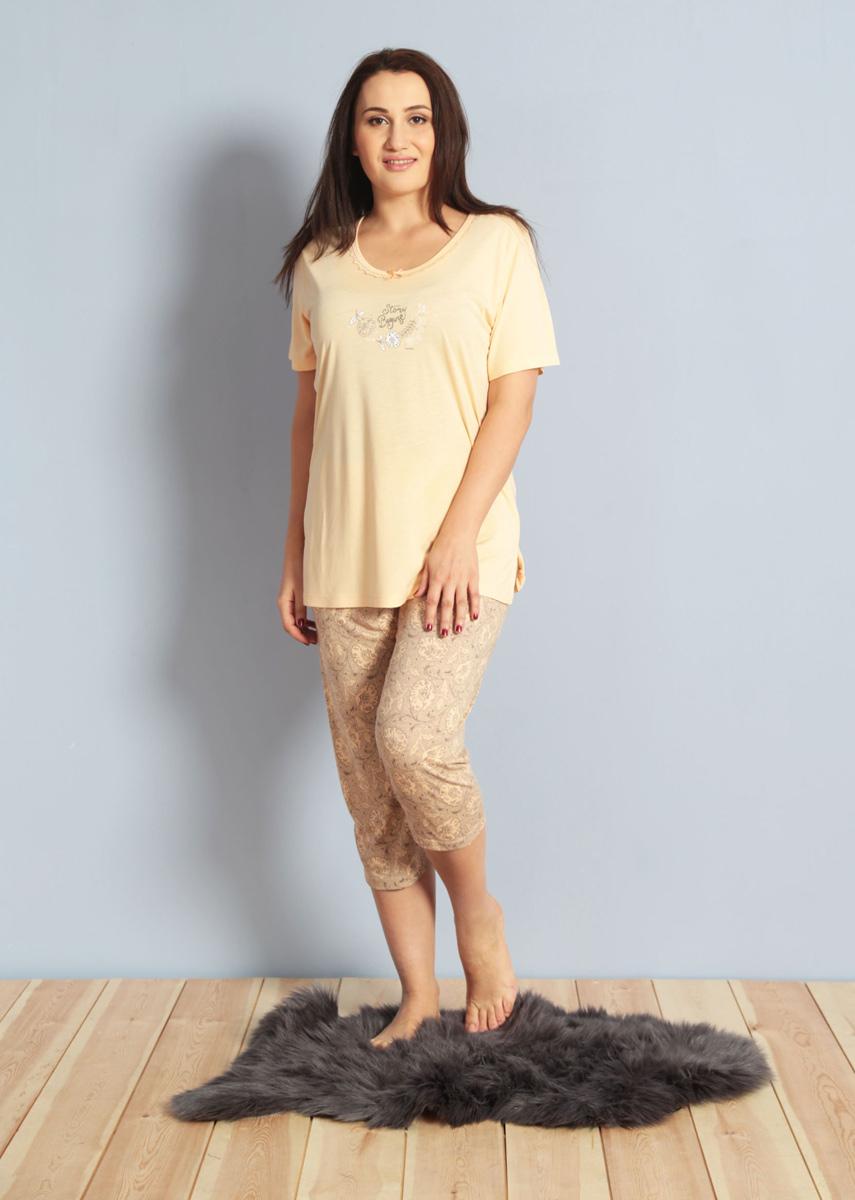 Домашний комплект женский Kezokino, цвет: персик. 610282 1171. Размер XL (50/52)610282 1171Красивый комплект, выполненный из 100% вискозы, состоит из футболки и капри приятной расцветки. Отличный вариант для дома и отдыха на каждый день.