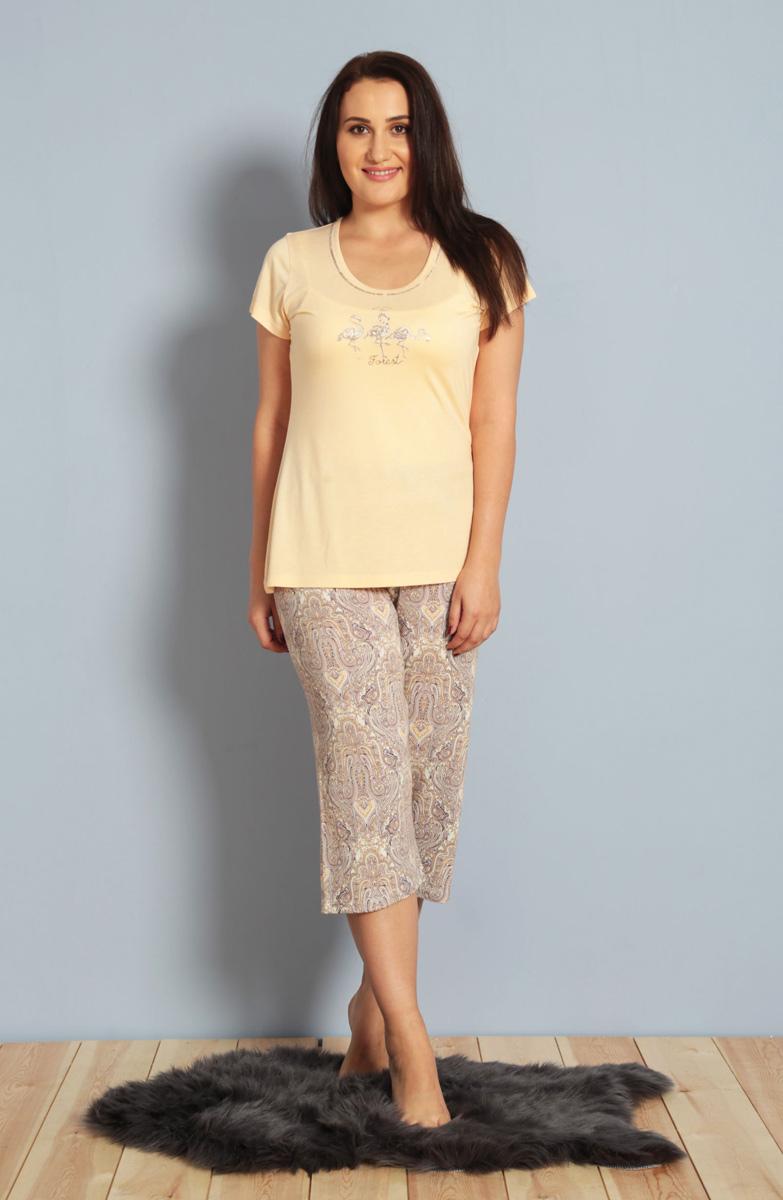 Домашний комплект женский Kezokino, цвет: персик. 610279 0619. Размер XL (50/52)610279 0619Красивый комплект, выполненный из 100% вискозы, состоит из футболки и капри приятной расцветки. Отличный вариант для дома и отдыха на каждый день.