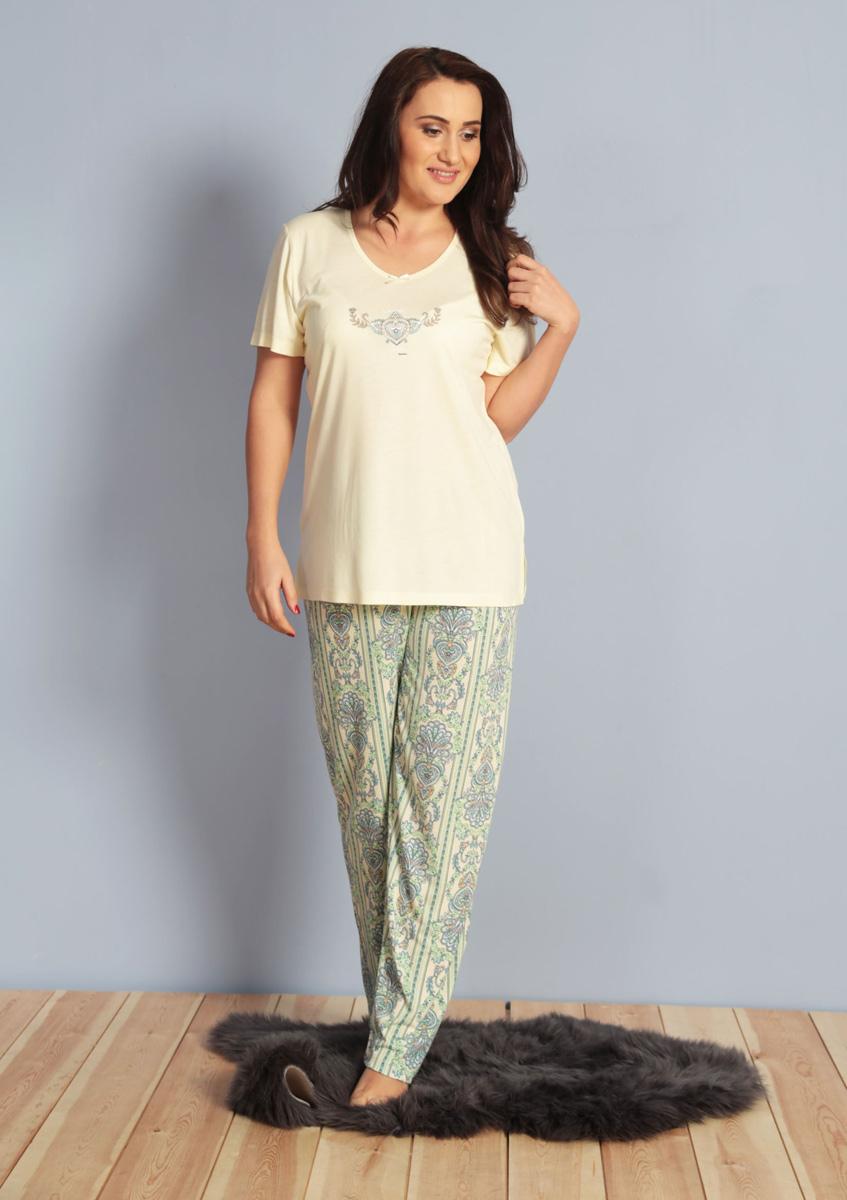 Домашний комплект женский Kezokino, цвет: желтый. 610273 0621. Размер XL (50/52)610273 0621Красивый комплект, выполненный из 100% вискозы, состоит из футболки и брюк приятной расцветки. Отличный вариант для дома и отдыха на каждый день.