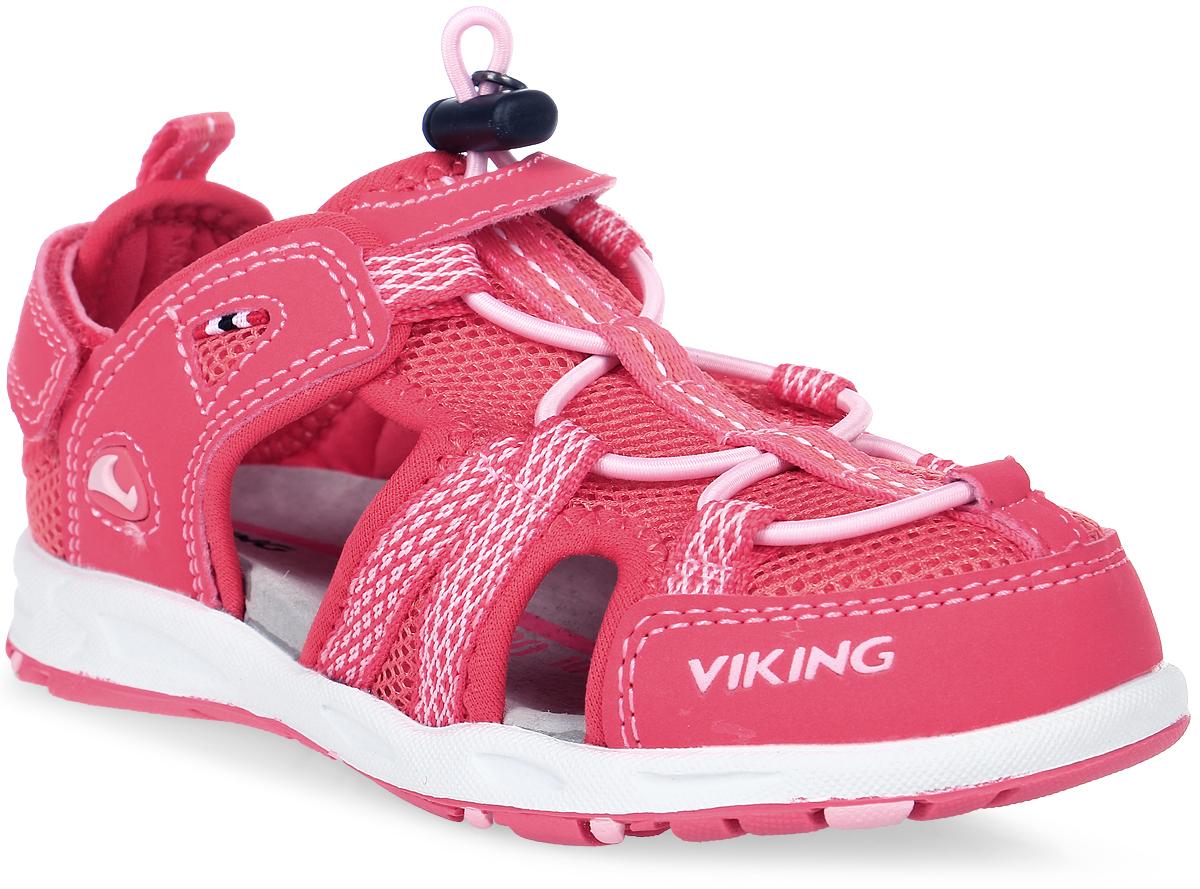 Сандалии для девочки Viking Loke, цвет: розовый. 3-45872-03951. Размер 353-45872-03951Стильные сандалии от Viking придутся по душе вашей юной моднице! Модель выполнена из искусственных материалов со вставками из текстиля. Эластичная шнуровка с фиксатором и ремешок на застежке-липучке отвечают за надежную фиксацию обуви на ноге. Ярлычок на заднике предназначен для удобства обувания. Стелька из натуральной кожи гарантирует комфорт при движении, позволяет ногам дышать. Подошва с рифлением обеспечивает идеальное сцепление с любыми поверхностями.Удобные и модные сандалии - необходимая вещь в гардеробе каждого ребенка.