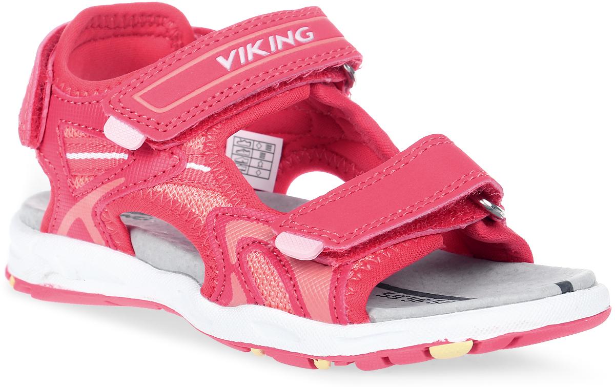Сандалии для девочки Viking Anchor, цвет: розовый. 3-43730-03951. Размер 233-43730-03951Стильные сандалии от Viking придутся по душе вашей юной моднице! Модель выполнена из искусственных материалов со вставками из текстиля. Три ремешка на застежках-липучках, пропущенные через металлические шлевки, отвечают за надежную фиксацию обуви на ноге. Стелька из натуральной кожи гарантирует комфорт при движении, позволяет ногам дышать. Подошва с рифлением обеспечивает идеальное сцепление с любыми поверхностями.Удобные и модные сандалии - необходимая вещь в гардеробе каждого ребенка.