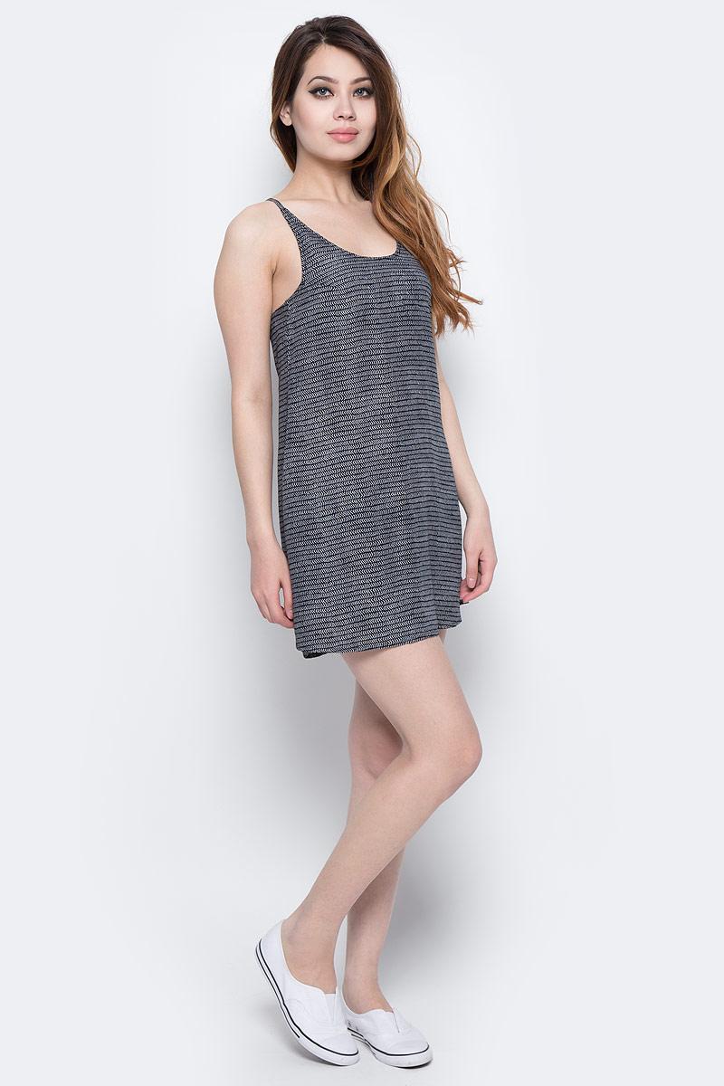 Платье ONeill Lw Rosebowl Dress, цвет: черный, белый. 7A8929-9910. Размер L (48/50)7A8929-9910Платье ONeill выполнено из 100% вискозы. Модель имеет длину мини, глубокий круглый вырез горловины и тонкие лямки, которые завязываются на спине. Модель имеет А-силуэт, комфортна и не сковывает движений.
