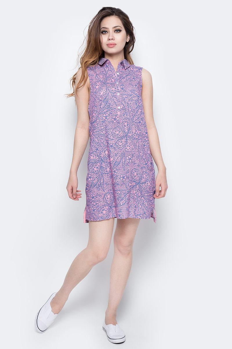 Платье Columbia Harborside Woven Sleeveless Dress, цвет: синий, розовый. 1709571-485. Размер L (48)1709571-485Элегантное платье Columbia Harborside Woven Sleeveless Dress выполнено из полиэстера и хлопка с добавлением эластана. Модель приталенного кроя с отложным воротником застегивается на пластиковые пуговицы. По бокам изделие дополнено небольшими разрезами.