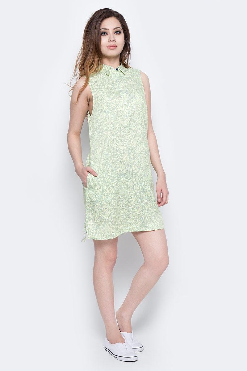 Платье Columbia Harborside Woven Sleeveless Dress, цвет: розовый, зеленый. 1709571-585. Размер L (48)1709571-585Элегантное платье Columbia Harborside Woven Sleeveless Dress выполнено из полиэстера и хлопка с добавлением эластана. Модель приталенного кроя с отложным воротником застегивается на пластиковые пуговицы. По бокам изделие дополнено небольшими разрезами.
