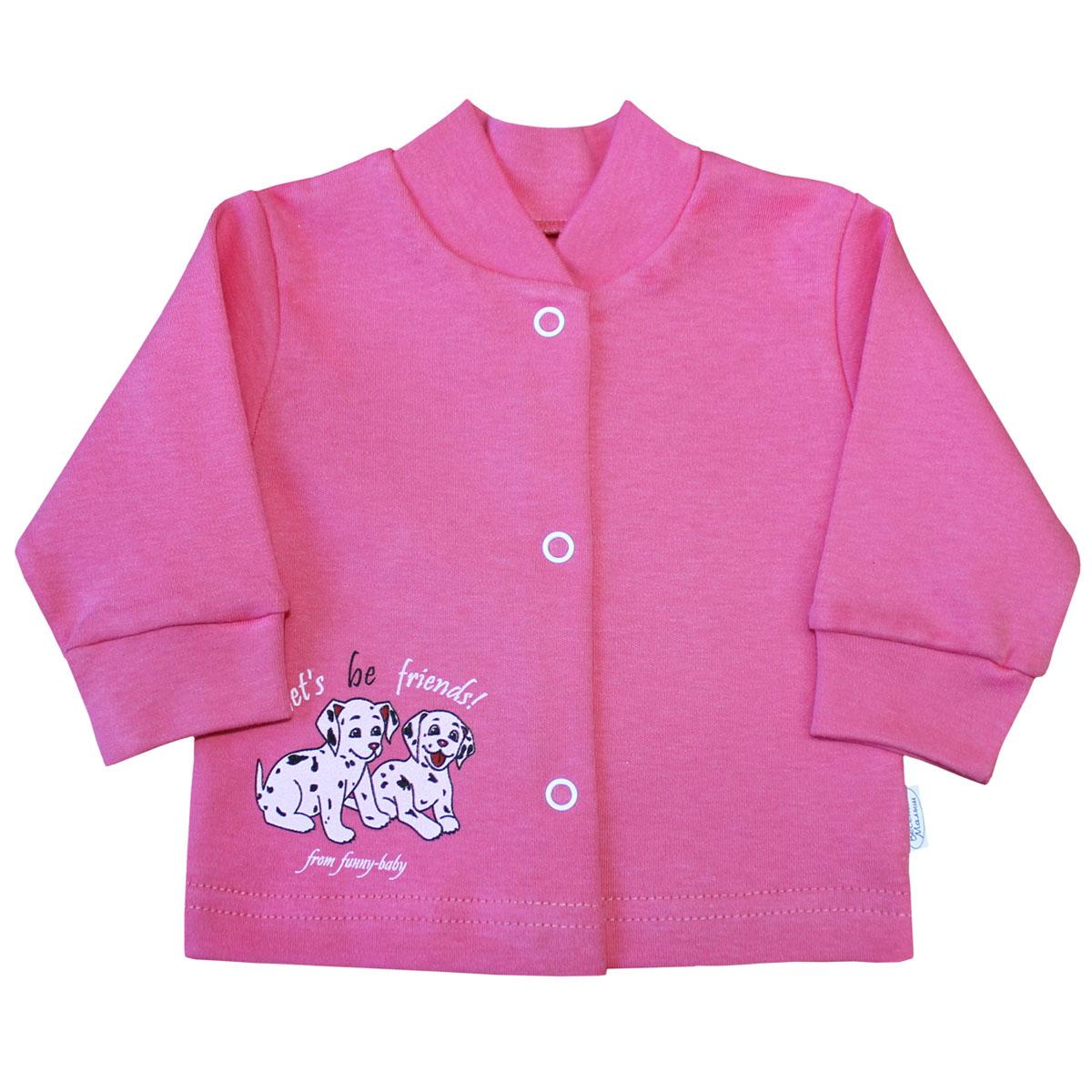 Кофточка для девочки Веселый малыш Далматинцы, цвет: розовый. 22322/да-B (1). Размер 6222322Кофточка для девочки с длинными рукавами послужит идеальным дополнением к гардеробу вашего малыша, обеспечивая ему наибольший комфорт. Изготовленная из качественного материала, она необычайно мягкая и легкая, не раздражает нежную кожу ребенка и хорошо вентилируется, а эластичные швы приятны телу младенца и не препятствуют его движениям. Удобные застежки-кнопки по всей длине помогают легко переодеть ребенка. Рукава понизу дополнены трикотажными манжетами, которые мягко обхватывают запястья, понизу также проходит широкая трикотажная резинка. Модель оформлена оригинальной аппликацией-нашивкой в виде забавной зверушки. Кофточка полностью соответствует особенностям жизни ребенка в ранний период, не стесняя и не ограничивая его в движениях. В ней ваш ребенок всегда будет в центре внимания.