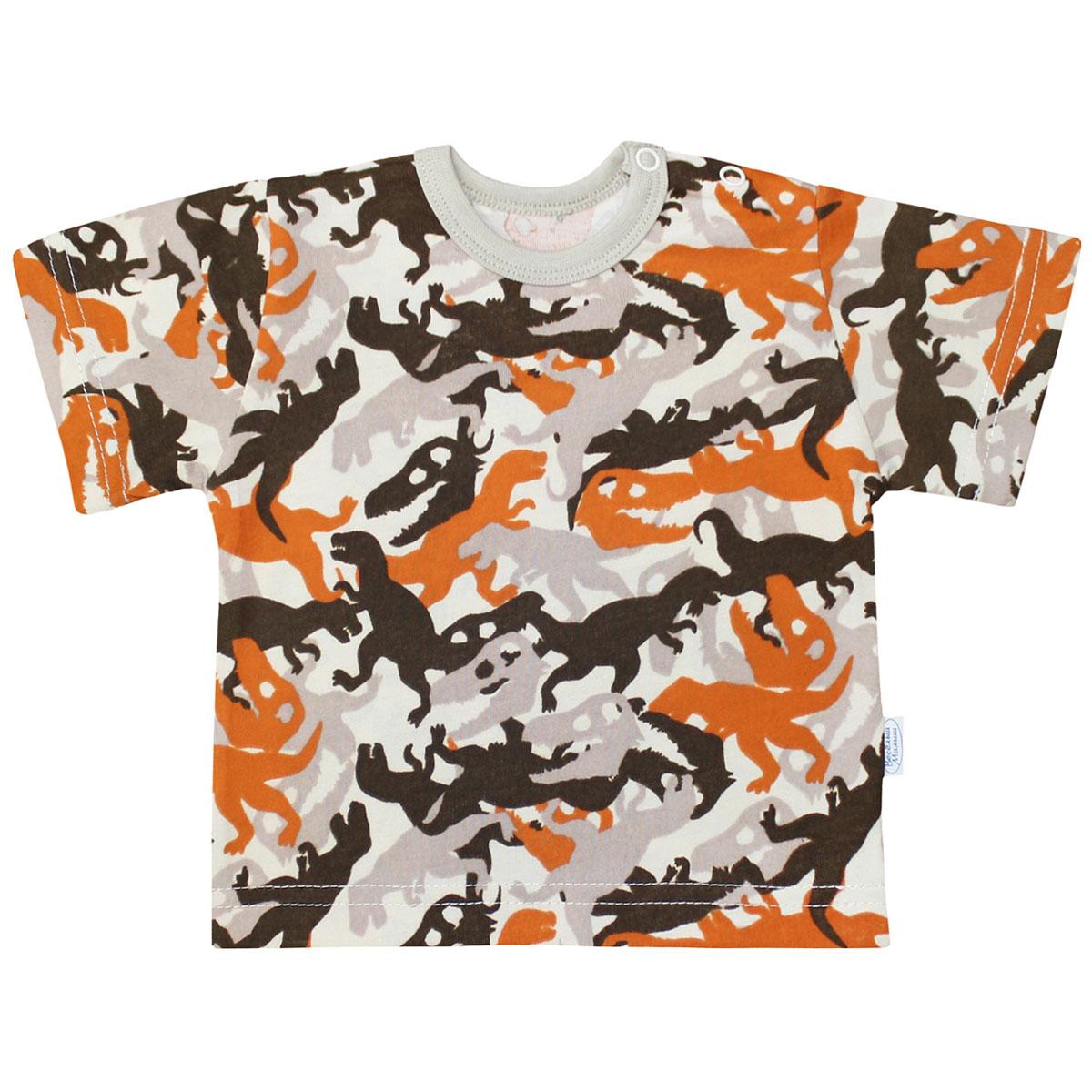 Футболка для мальчика Веселый малыш Динозавры, цвет: оранжевый. 67172/ди-оранж. Размер 7467172Футболка для мальчика Веселый малыш выполнена из качественного материала. Модель с круглым вырезом горловины и короткими рукавами.