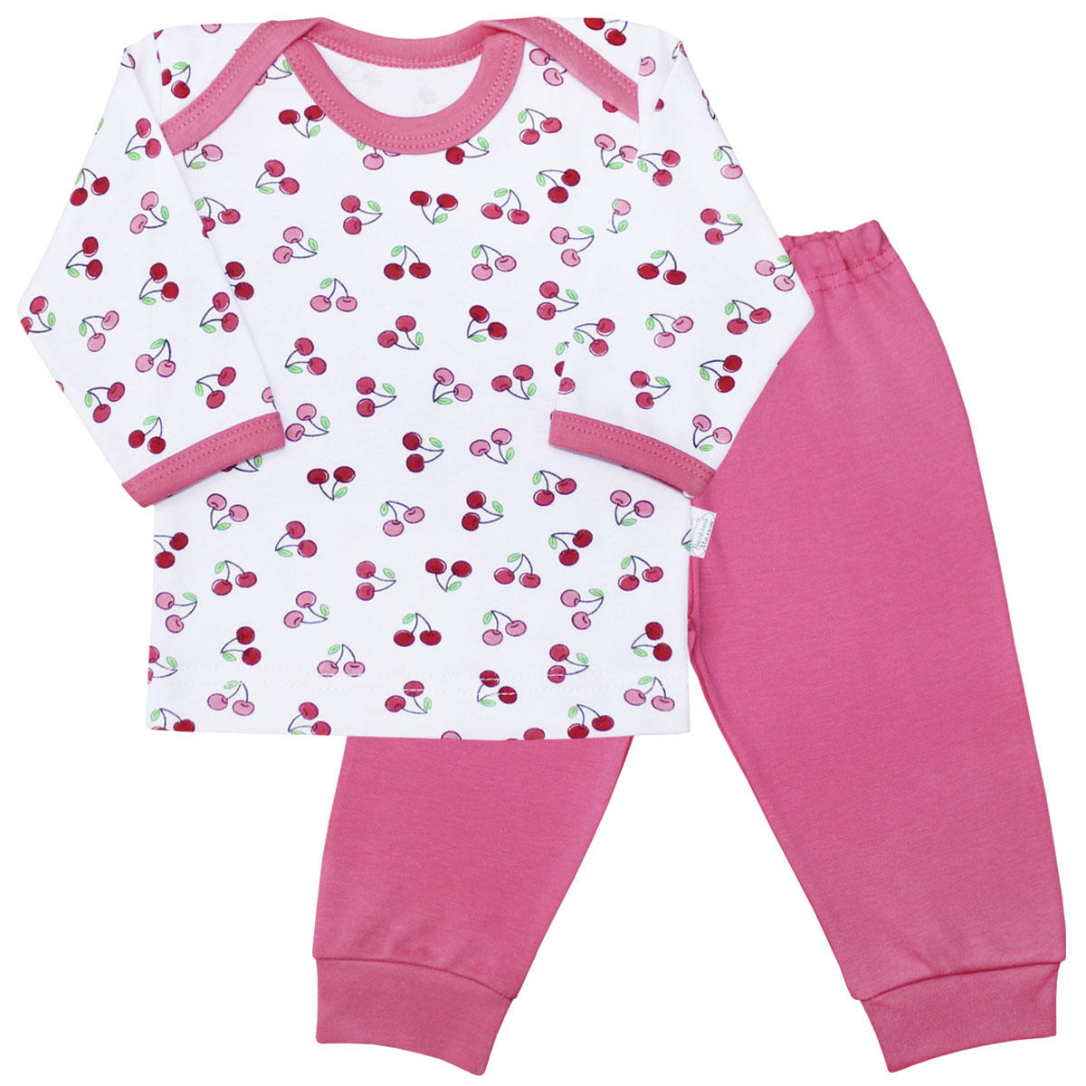 Пижама для девочки Веселый малыш Спелая вишня, цвет: розовый. 623332/св-E (1). Размер 80623332Пижама для девочки Веселый малыш выполнена из качественного материала и состоит из лонгслива и брюк. Лонгслив с длинными рукавами и круглым вырезом горловины. Брюки понизу дополнены манжетами.